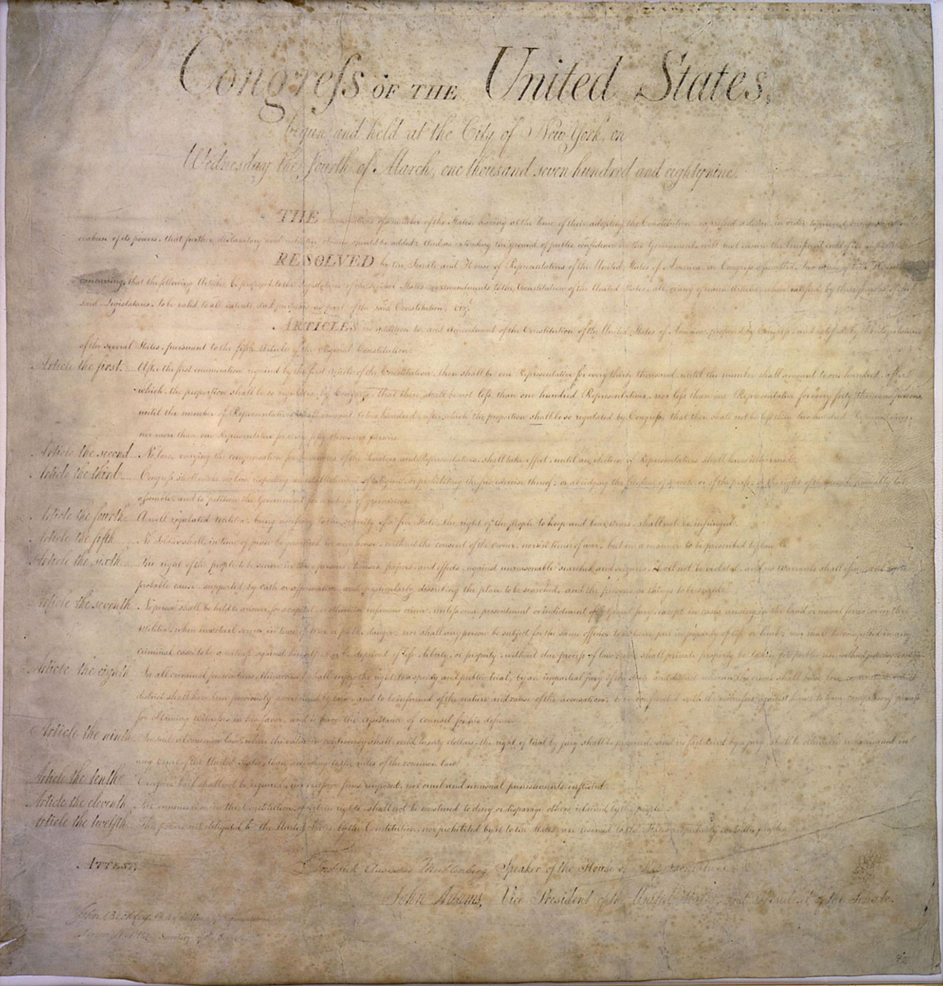 image of Bill of Rights (1791)
